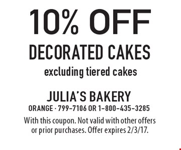 10% off Decorated cakes excluding tiered cakes. With this coupon. Not valid with other offers or prior purchases. Offer expires 2/3/17.
