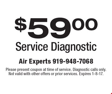 $59.00 Service Diagnostic. Please present coupon at time of service. Diagnostic calls only. Not valid with other offers or prior services. Expires 1-8-17.