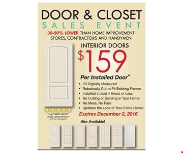 Interior Doors $159 Per Installed Door
