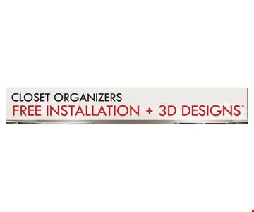closet organizers free installation + 3D