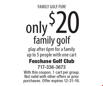 FAMILY GOLF FUN! Only $20 family golf play after 6pm. For a family up to 5 people with one cart. With this coupon. 1 cart per group. Not valid with other offers or prior purchases. Offer expires 12-31-16.