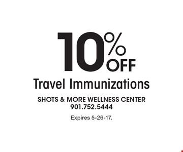 10% Off Travel Immunizations. Expires 5-26-17.