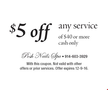 $5 off any service of $40 or more cash only. With this coupon. Not valid with other offers or prior services. Offer expires 12-9-16.