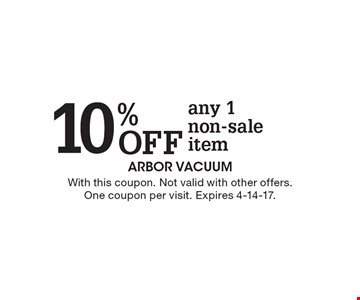 10% off any 1 non-sale item. With this coupon. Not valid with other offers. One coupon per visit. Expires 4-14-17.