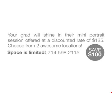 mini portrait session  $125choose from 2 awesome locations