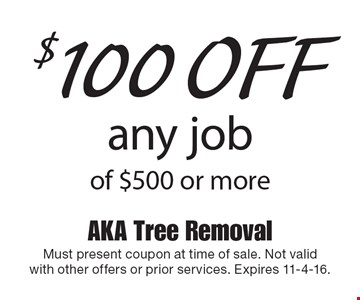 $100 off any job of $500 or more. Must present coupon at time of sale. Not valid with other offers or prior services. Expires 11-4-16.