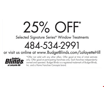 25% Off Selected Signature Series Window Treatments