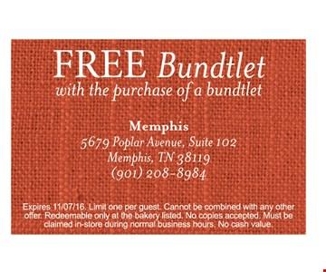 Free bundtlet with purchase.