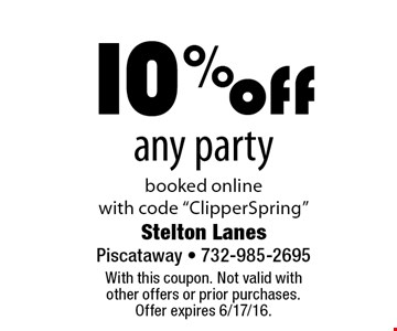 "10% off any party booked online with code ""ClipperSpring"". With this coupon. Not valid with other offers or prior purchases. Offer expires 6/17/16."