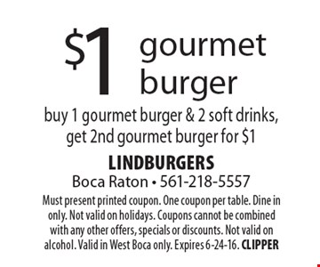 $1 gourmet burger. Buy 1 gourmet burger & 2 soft drinks, get 2nd gourmet burger for $1. Must present printed coupon. One coupon per table. Dine in only. Not valid on holidays. Coupons cannot be combined with any other offers, specials or discounts. Not valid on alcohol. Valid in West Boca only. Expires 6-24-16. CLIPPER