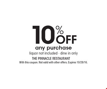 10% Off any purchase, liquor not included - dine in only. With this coupon. Not valid with other offers. Expires 10/28/16.