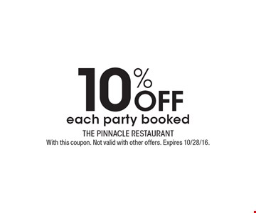 10% Off each party booked. With this coupon. Not valid with other offers. Expires 10/28/16.