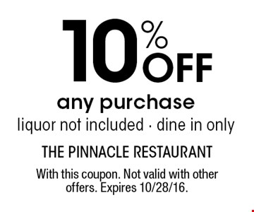 10% Off any purchase. liquor not included. dine in only. With this coupon. Not valid with other offers. Expires 10/28/16.