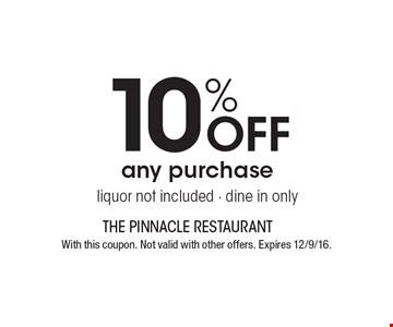 10% Off any purchase, liquor not included - dine in only. With this coupon. Not valid with other offers. Expires 12/9/16.