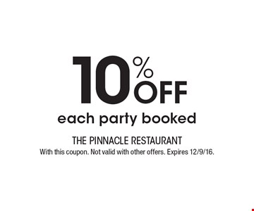 10% Off each party booked. With this coupon. Not valid with other offers. Expires 12/9/16.