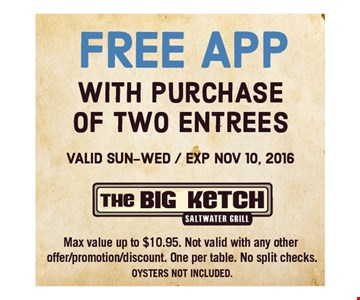 Free app with purchase of 2 entrees