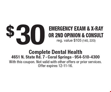 $30 Emergency Exam & x-ray or 2nd opinion & consult. Reg. value $105 (140, 220). With this coupon. Not valid with other offers or prior services. Offer expires 12-11-16.