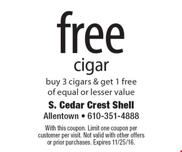 free cigar. Buy 3 cigars & get 1 free of equal or lesser value. With this coupon. Limit one coupon per customer per visit. Not valid with other offers or prior purchases. Expires 11/25/16.