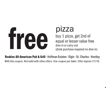Free pizza. Buy 1 pizza, get 2nd of equal or lesser value free. Dine in or carry-out (drink purchase required on dine in). With this coupon. Not valid with other offers. One coupon per table. Offer expires 7/1/16.