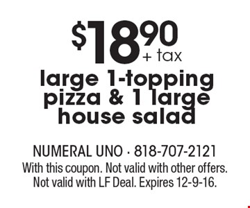 $18.90 + tax large 1-topping pizza & 1 large house salad. With this coupon. Not valid with other offers. Not valid with LF Deal. Expires 12-9-16.