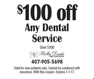 $100 off Any Dental Service Over $100. Valid for new patients only. Cannot be combined with insurance. With this coupon. Expires 1-1-17.