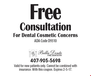 Free Consultation For Dental Cosmetic Concerns ADA Code D9310. Valid for new patients only. Cannot be combined with insurance. With this coupon. Expires 2-5-17.