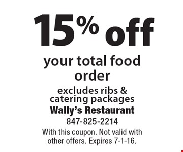 15% off your total food order excludes ribs & catering packages. With this coupon. Not valid with other offers. Expires 7-1-16.