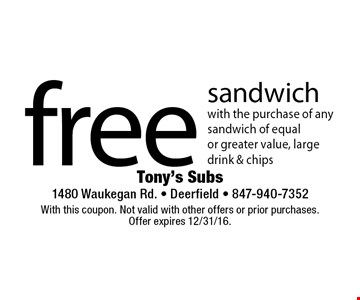 Free sandwich with the purchase of any sandwich of equal or greater value, large drink & chips. With this coupon. Not valid with other offers or prior purchases. Offer expires 12/31/16.