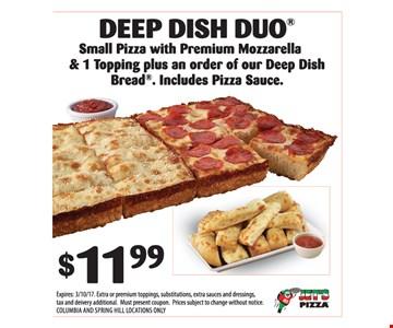 $11.99 deep dish duo