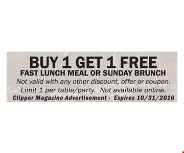 Buy 1 Get 1 Free Fast Lunch Meal Or Sunday Brunch