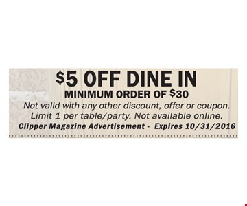 $5 Off Dine In