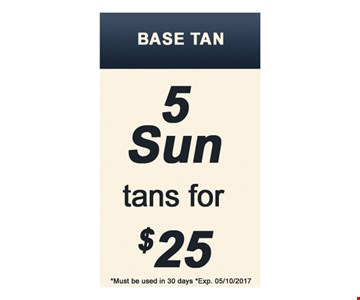 5 Sun tans for $25