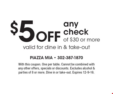$5 OFF any check of $30 or more valid for dine in & take-out. With this coupon. One per table. Cannot be combined with any other offers, specials or discounts. Excludes alcohol & parties of 8 or more. Dine in or take-out. Expires 12-9-16.