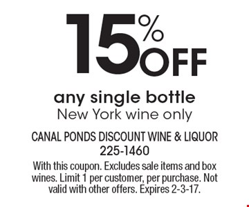 15% OFF any single bottle New York wine only. With this coupon. Excludes sale items and box wines. Limit 1 per customer, per purchase. Not valid with other offers. Expires 2-3-17.