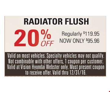 20% off radiator flush