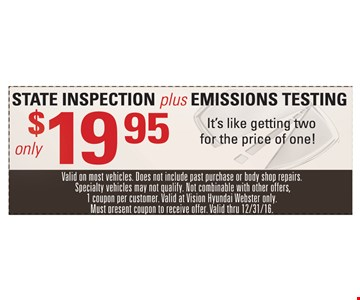 $19.95 State inspection plus emissions testing