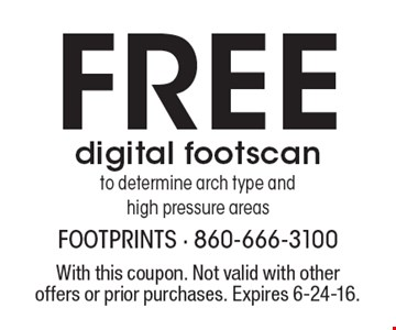 FREE digital footscan to determine arch type and high pressure areas. With this coupon. Not valid with other offers or prior purchases. Expires 6-24-16.