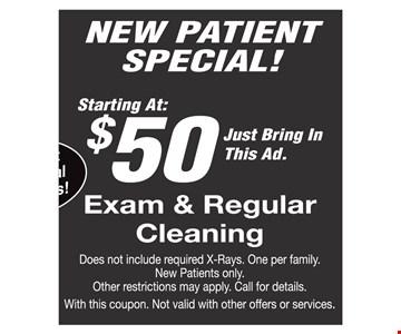 $50 exam & regular cleaning