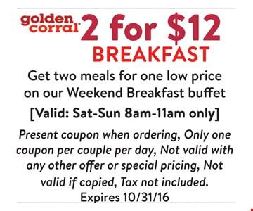 2 for $12 breakfast
