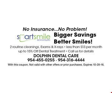 No Insurance...No Problem! Bigger Savings Better Smiles! 2 routine cleanings, Exams & X-rays - less than $13 per month - up to 15% Off Dental Treatment - Call us for details. With this coupon. Not valid with other offers or prior purchases. Expires 10-28-16.