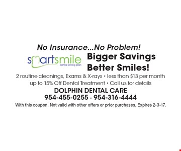 No Insurance...No Problem! Bigger Savings Better Smiles! 2 routine cleanings, Exams & X-rays - less than $13 per month up to 15% Off Dental Treatment - Call us for details. With this coupon. Not valid with other offers or prior purchases. Expires 2-3-17.
