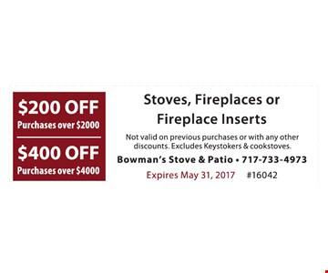 $200 off purchases over $2000 OR $400 off purchases over $4000
