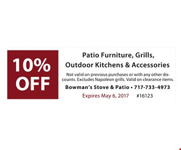 10% off patio furniture, grills, outdoor kitchens & accessories