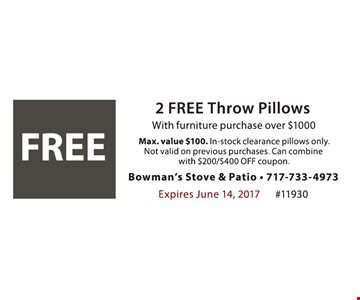 FREE 2 Free Throw Pillows. With furniture purchase over $1000. Max. value $100. In-Stock clearance pillows only. Not valid on previous purchases. Can combine with $200/$400 Off coupon. Expires June 14, 2017. #11930