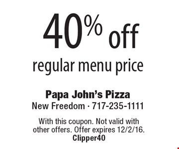 40% off regular menu price. With this coupon. Not valid with other offers. Offer expires 12/2/16.Clipper40