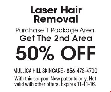 50% OFF Laser Hair Removal Purchase 1 Package Area, Get The 2nd Area. With this coupon. New patients only. Not valid with other offers. Expires 11-11-16.