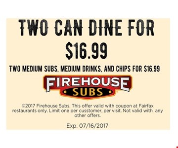 Two can dine for $16.99