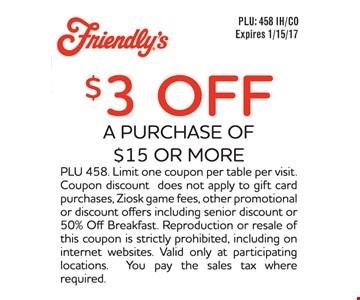 $3 off a purchase of $15 or more