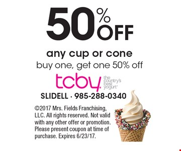 50% Off any cup or cone buy one, get one 50% off . 2017 Mrs. Fields Franchising, LLC. All rights reserved. Not valid with any other offer or promotion. Please present coupon at time of purchase. Expires 6/23/17.