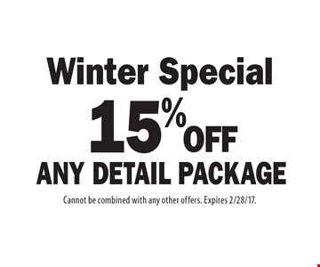 Winter Special 15% OFF Any Detail Package. Cannot be combined with any other offers. Expires 2/28/17.